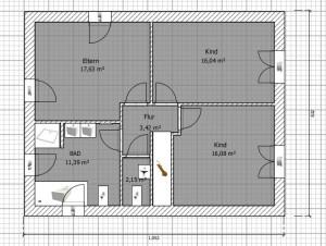 Grafik: Erster Entwurf - Grundriss Dachgeschoss