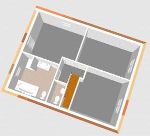 Grafik: Erster Entwurf - 3D Dachgeschoss