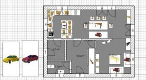 Grafik: Erster Entwurf - Grundriss Erdgeschoss