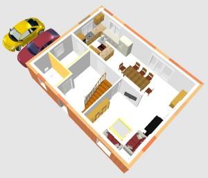 Grafik: Erster Entwurf - 3D Erdgeschoss