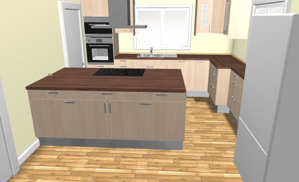 Grafik: Erster Entwurf - 3D Küche